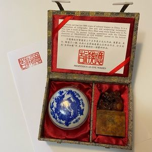 Chinese Soap Stone carving stamp set in box
